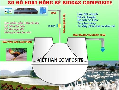 sơ đồ công nghệ sử lý chất thải hầm bể biogas composite