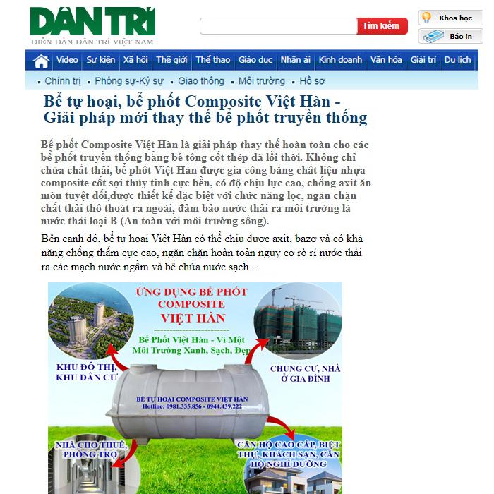 Báo dân trí nói gì về sản phầm bể biogas - bể tự hoại composite Việt Hàn