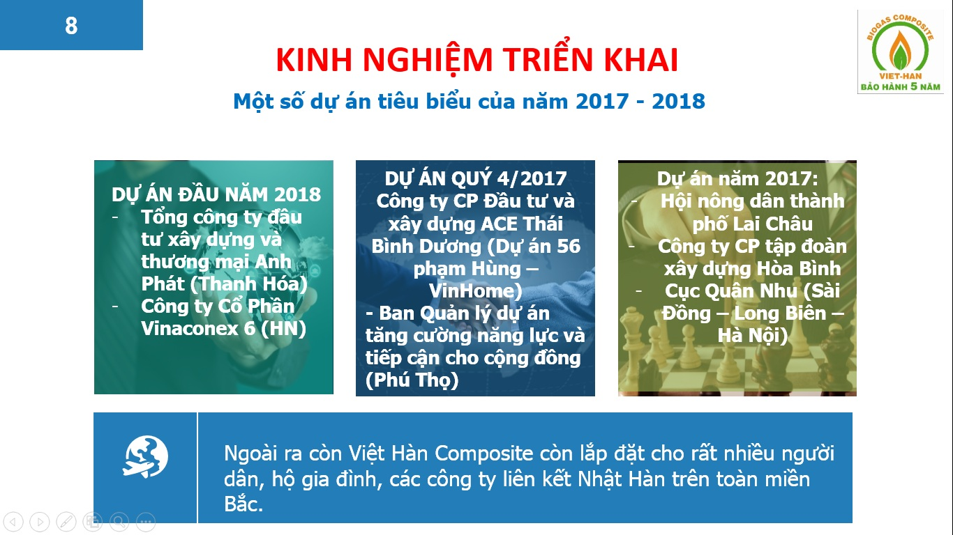 Dự án bể phốt Việt Hàn đã triển khai Năm 2017